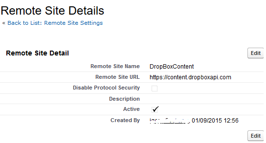 SalesForce remote sites details for DropBox