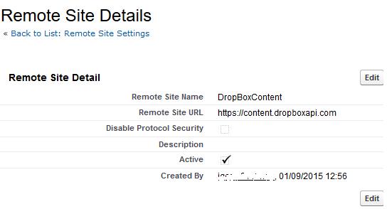 SalesForce remote sites details for DropBox