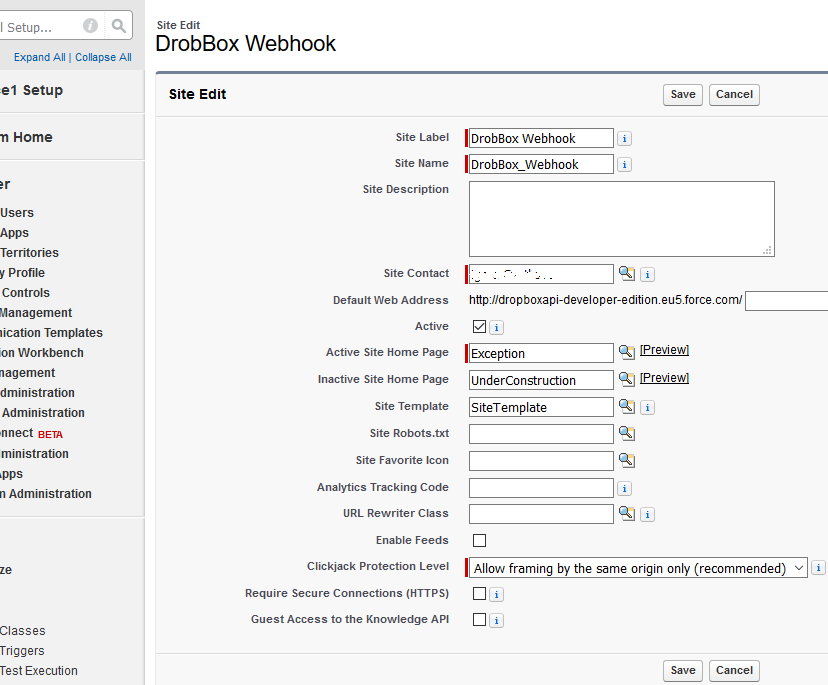 SalesForce Dropbox Webhook