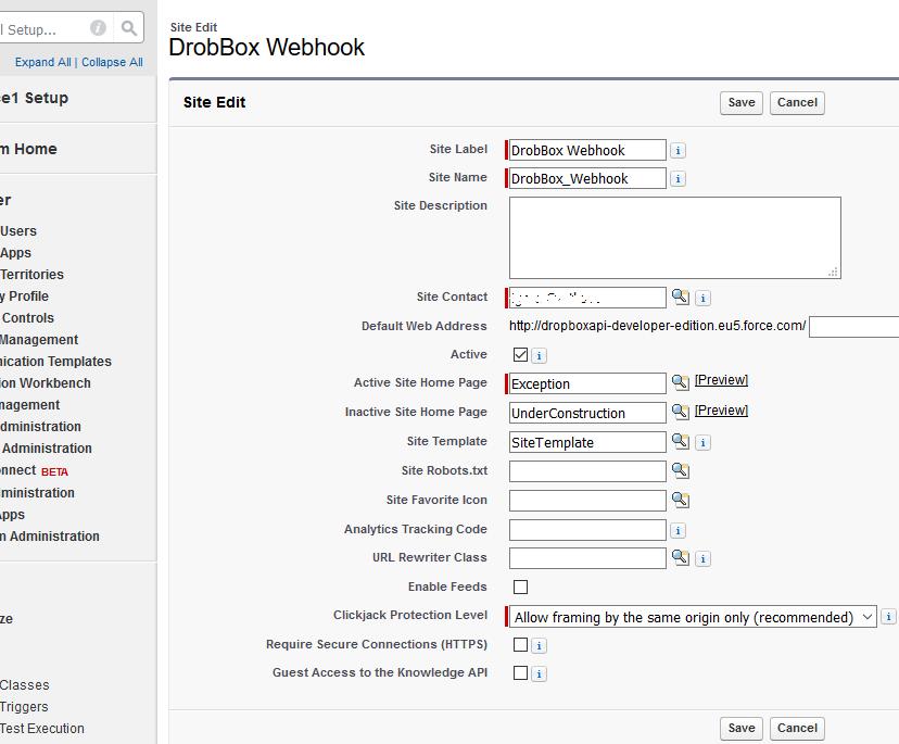 SalesForce Dropbox Webhook