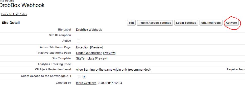 Activate SalesForce Dropbox Webhook