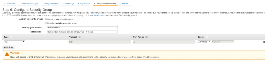 Configure security group
