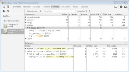 JavaScript memory browser snapshot delta
