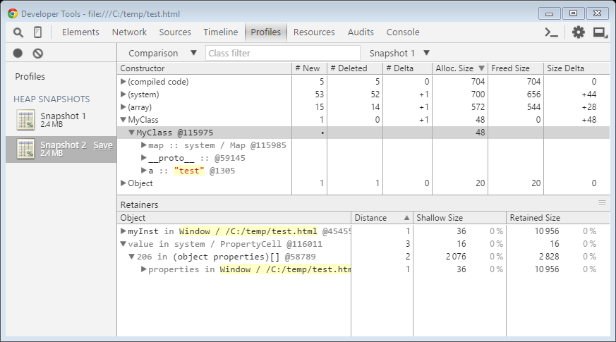 Profiling JavaScript memory in the browser and on the server